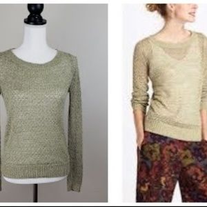 Anthro, Guinevere  Hemp Crochet Green/Gold Sweater